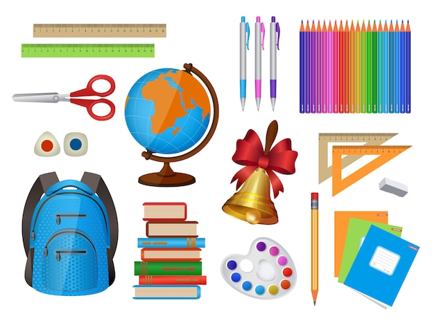Set of school items