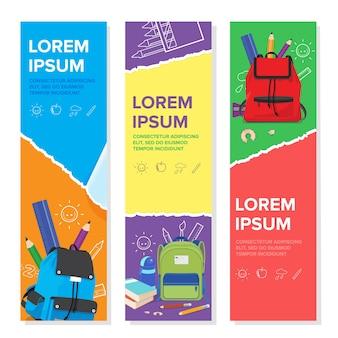 Set of school kid banner template