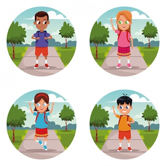 Set of school kids backpack cartoon