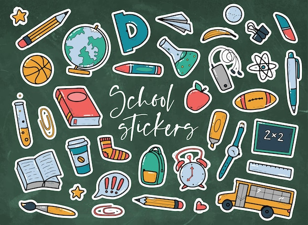 Set of school stickers stationary doodles