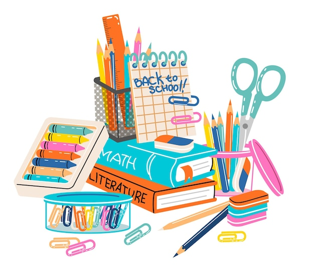 Set of school supplies composition back to school