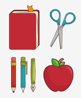 Set of school supplies isolated icon design