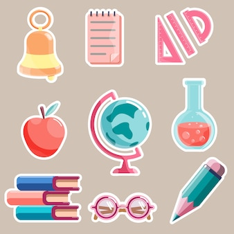 Set of school theme cartoon stickers isolated on white background