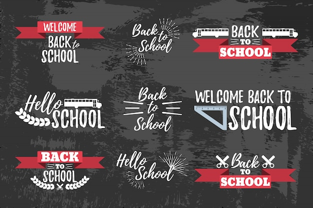 Set of school typographic - vintage style back to school. vector illustration.