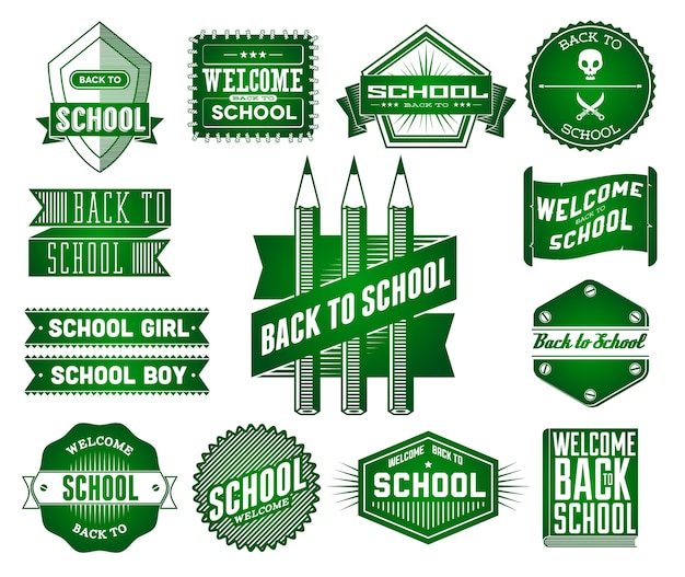 Set of school vintage labels Premium Vector