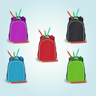 Set of schoolbag icons