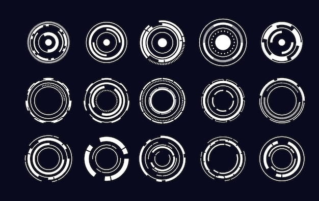 Set of sci fi modern user interface elements. futuristic abstract hud. good for game ui. circle elements for data infographics. vector illustration