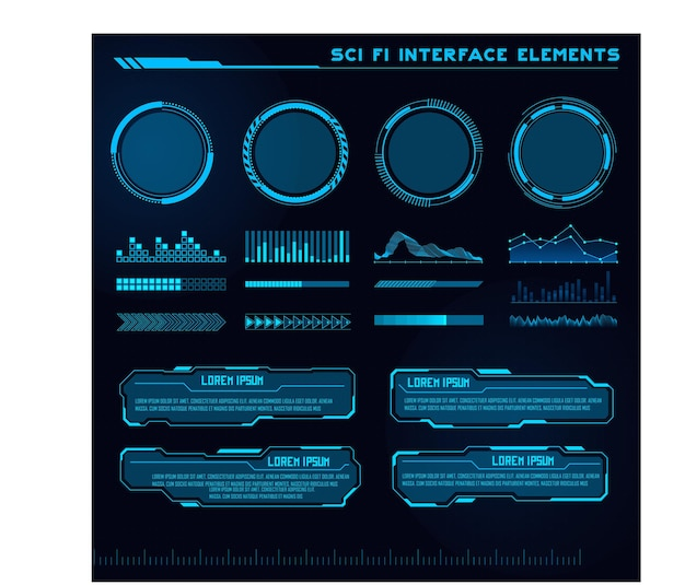 Set of sci fi modern user interface elements futuristic abstract hud good for game ui