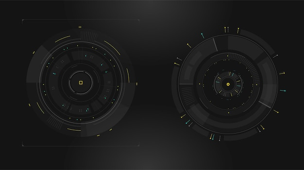 Set of sci fi modern user interface elements futuristic abstract hud
