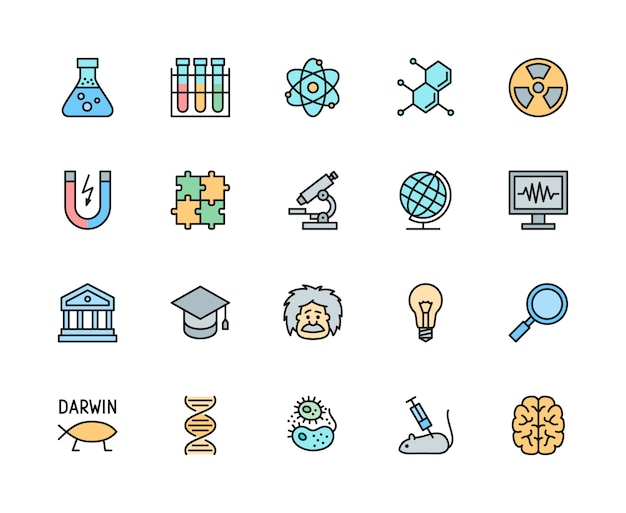 Set of science color line icons. school globe, evolution, dna, bacteria and more