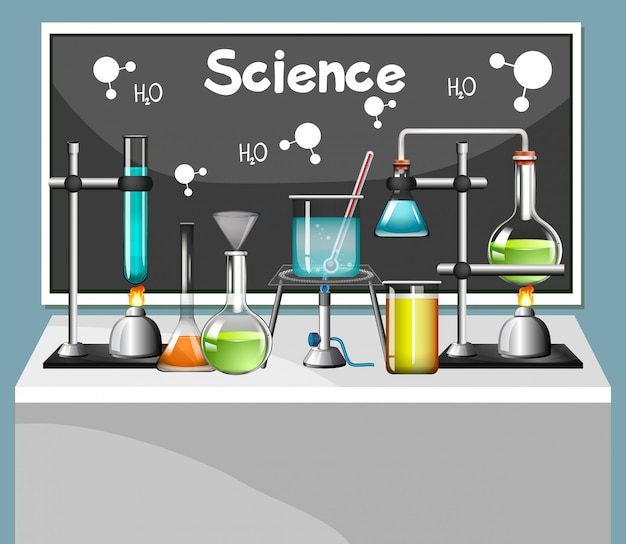 Set of science equipments in lab