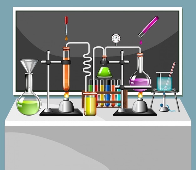 Set of science equipments in school lab