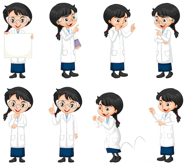 Set of science student doing different poses