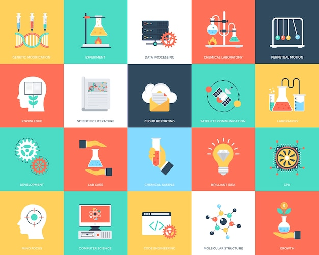 Set of science and technology flat vector icons