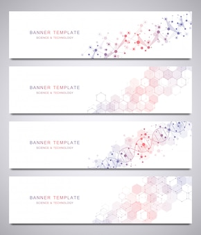 Set of scientific and technological vector banner template with molecular structures.