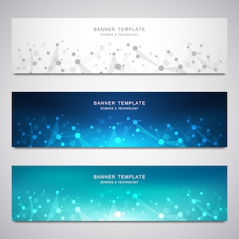 Set of scientific and technological vector banners.