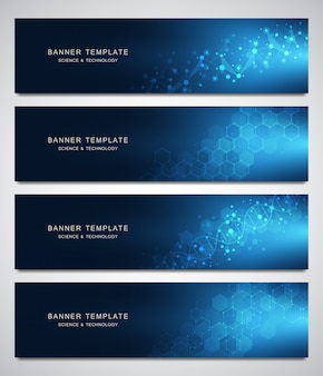 Set of scientific and technological vector banners
