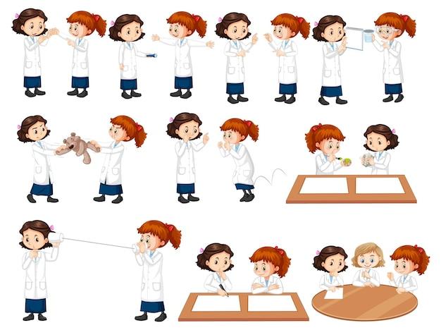 Set di una ragazza scienziata che fa diversi esperimenti