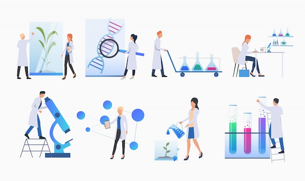 Set of scientists doing research banner