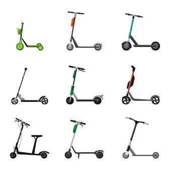 Установите скутер на белом фоне. электрический и трюк самокат в стиле плоский дизайн.