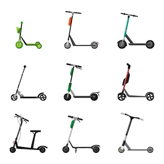 Set scooter on white background. electric and trick scooter in style flat design.