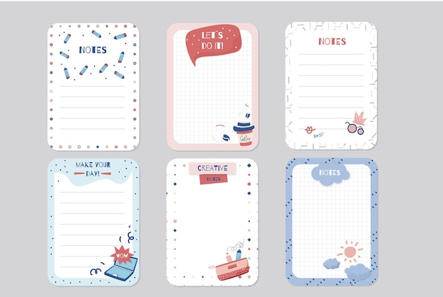 Set of scrapbook notes and cards