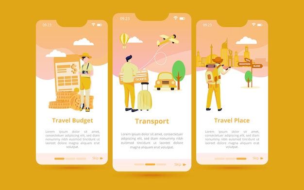 A set of screen user interfaces with illustrations of preparation for traveling