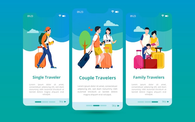A set of screen user interfaces with illustrations of types of tours based on their number