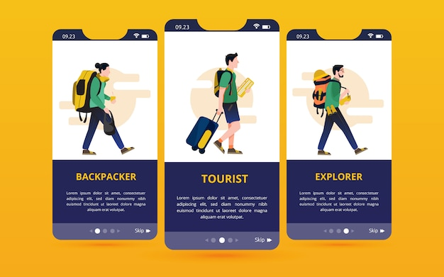 A set of screen user interfaces with traveler type illustrations