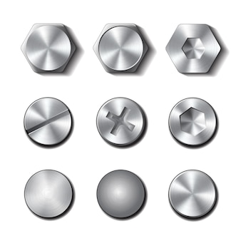 Set of screws and bolts on white background.  illustration