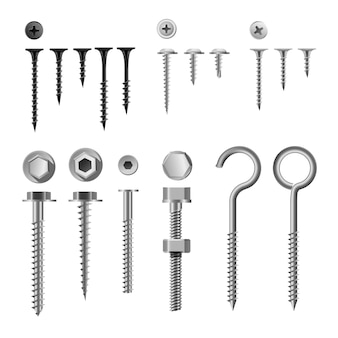 Set of screws and fasteners, wall hooks and bolts, nuts and wall plugs collection