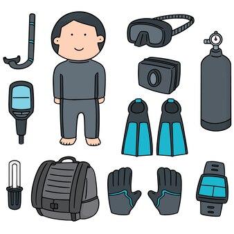 Set of scuba diving equipment