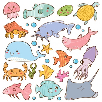Set of sea animal kawaii doodles