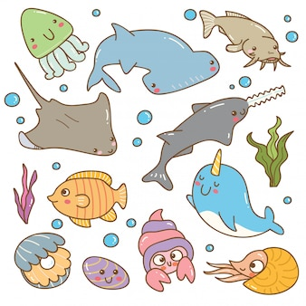 Set of sea animal kawaii set