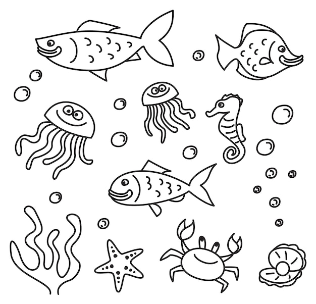 Set of sea animal