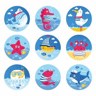 Set of sea animals fish shark whale jellyfish star seahorse crab turtle. illustration for clothes anniversary birthday party invitations scrapbooking cards and sticker