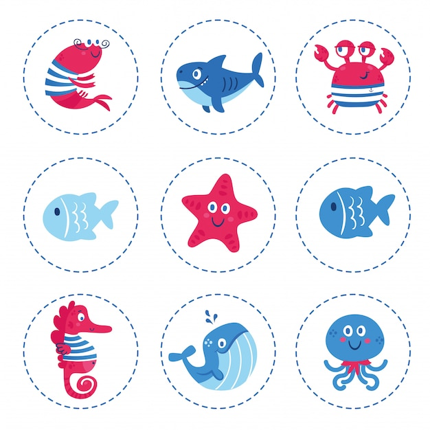 Set of sea animals fish shark whale octopus star seahorse crab.