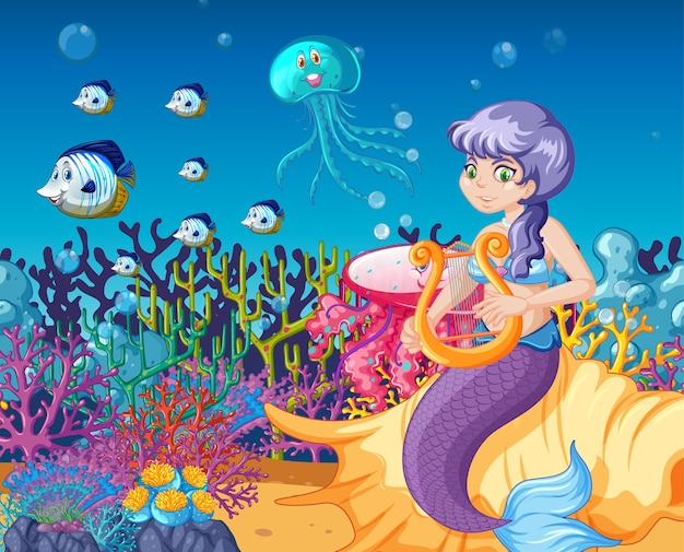 Set of sea animals and mermaid cartoon on sea background