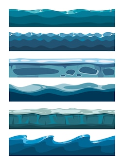Set of sea backgrounds for mobile games apps