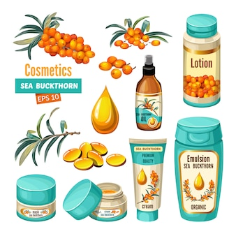 Set of sea buckthorn and cosmetic.