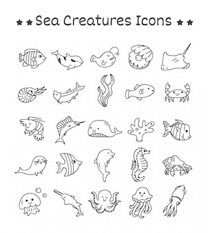 Set of sea creatures icons in doodle style