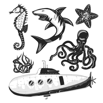 Set of sea creatures and a submarine isolated on white.