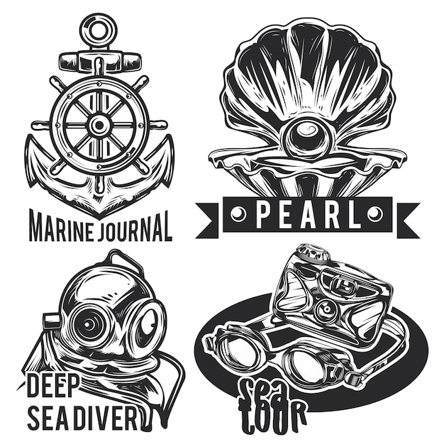 Set of sea emblems, labels, badges, logos.
