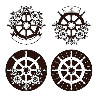 Set of sea helm, sea wheel with flowers and ribbon