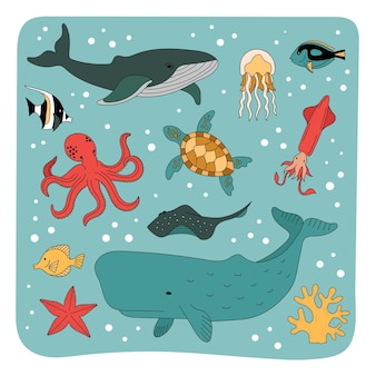 Set of sea inhabitants, underwater animals. the underwater world of the ocean.