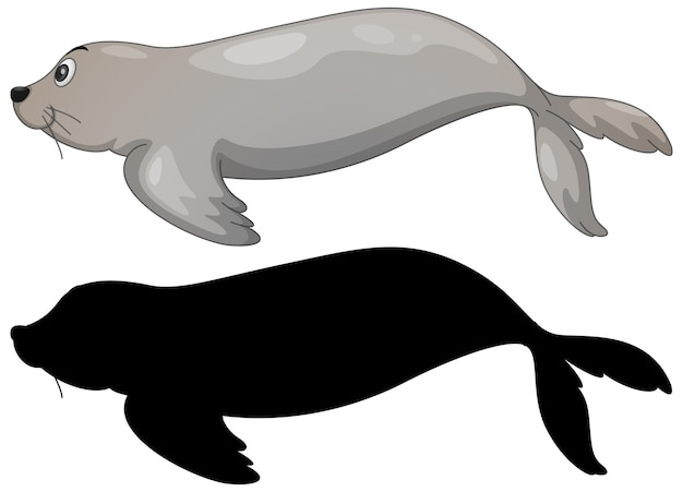 Set of sea lion characters and its silhouette on white