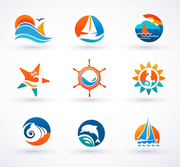 Set of sea and nautical icons, signs and symbols