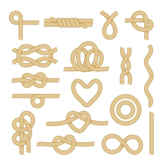 Set sea rope knots, nautical marine cords elements and parts isolated on white background. different loops and sailing strings of various shapes, frames, borders, patterns. cartoon vector illustration