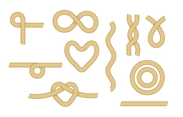 Set sea rope knots, nautical marine cords heart, eight, circle and wavy elements isolated on white background