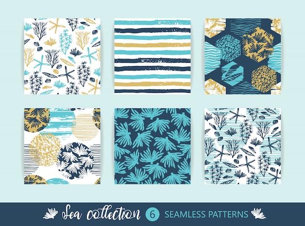 Set of sea seamless patterns.